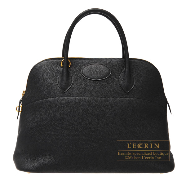 Hermes Bolide bag 35 Black Clemence leather Gold hardware