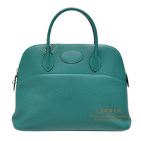 Hermes Bolide bag 35 Malachite Clemence leather Silver hardware