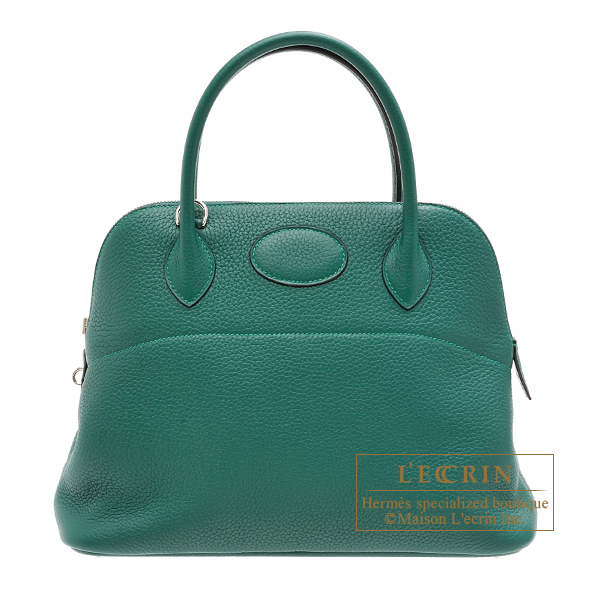 Hermes Bolide bag 31 Malachite Clemence leather Silver hardware