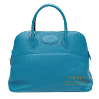 Hermes Bolide bag 35 Blue izmir Clemence leather Silver hardware