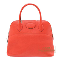 Hermes Bolide bag 31 Rouge pivoine Clemence leather Silver hardware