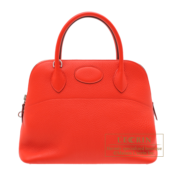 Hermes Bolide bag 31 Rouge tomate Clemence leather Silver hardware
