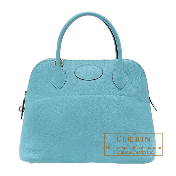 Hermes Bolide bag 31 Blue Saint-Cyr Clemence leather Silver hardware
