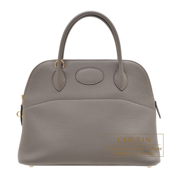 Hermes Bolide bag 31 Etain Clemence leather Gold hardware