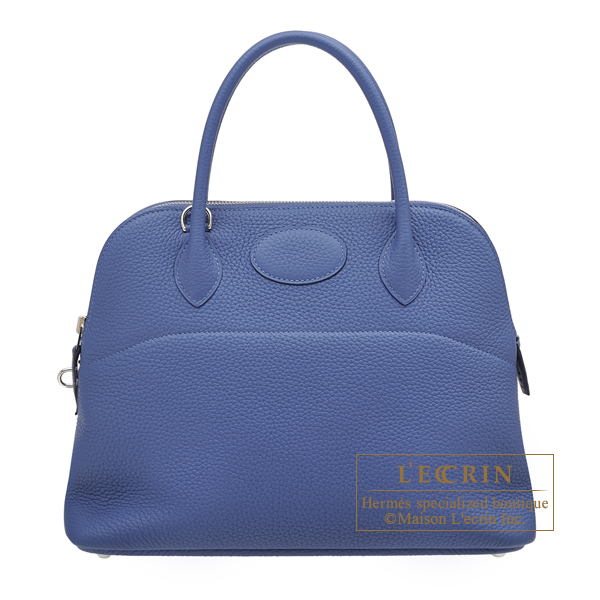 Hermes Bolide bag 31 Blue brighton Clemence leather Silver hardware