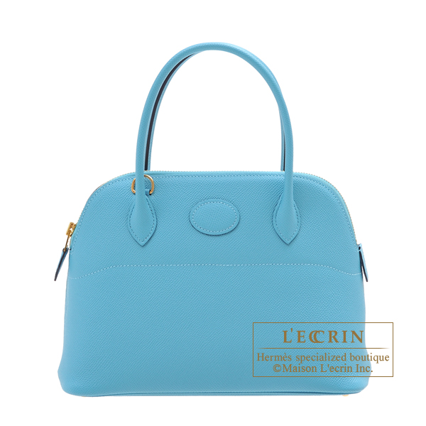 Hermes Bolide bag 27 Blue du nord Epsom leather Gold hardware