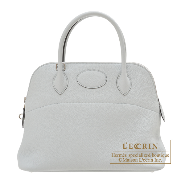 Hermes Bolide bag 31 Blue pale Clemence leather Silver hardware
