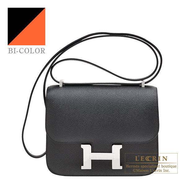 Hermes Personal Constance mini Black/ Orange poppy Epsom leather Silver hardware