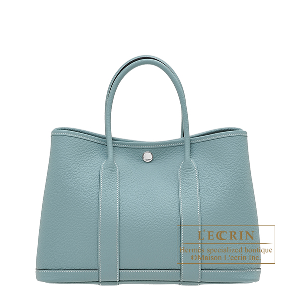 Hermes Garden Party bag TPM Ciel Country leather Silver hardware