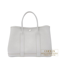 Hermes Garden Party bag TPM Pearl grey Fjord leather Silver hardware