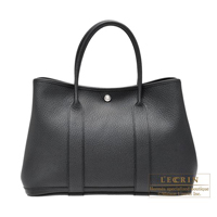 Hermes Garden Party bag PM Quadrige Black Country leather Silver hardware