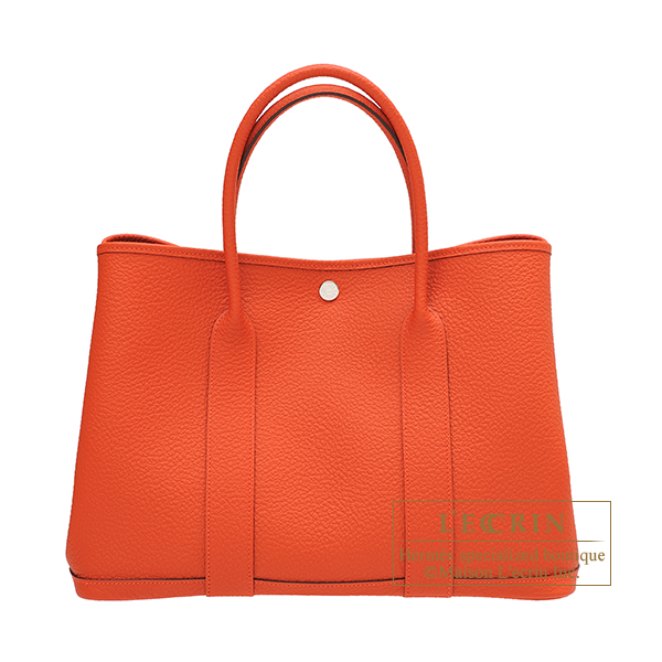 Hermes Garden Party bag PM Capucine Country leather Silver hardware