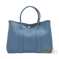 Hermes Garden Party bag PM Blue tempete Country leather Silver hardware