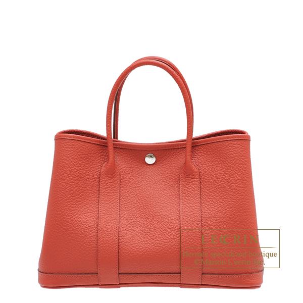 Hermes Garden Party bag TPM Rouge duchesse Country leather Silver hardware