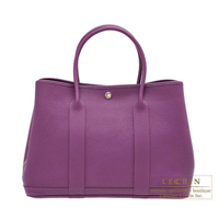Hermes Garden Party bag PM Anemone Negonda leather Silver hardware