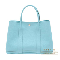 Hermes Garden Party bag PM Blue atoll Country leather Silver hardware