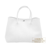 Hermes Garden Party bag PM White Country leather Silver hardware