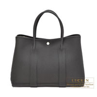Hermes Garden Party bag PM Plomb Negonda leather Silver hardware