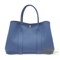 Hermes Garden Party bag PM Blue agate Country leather Silver hardware