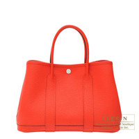 Hermes Garden Party bag TPM Rouge tomate Country leather Silver hardware