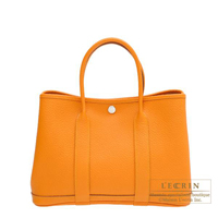 Hermes Garden Party bag TPM Moutarde Country leather Silver hardware