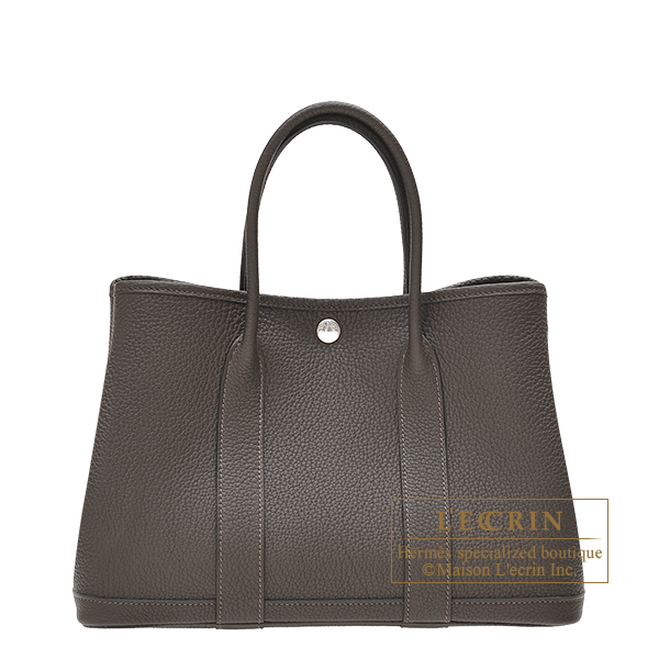 Hermes Garden Party bag TPM Ebene Negonda leather Silver hardware