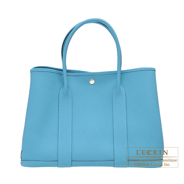 Hermes Garden Party bag PM Blue du nord Country leather Silver hardware