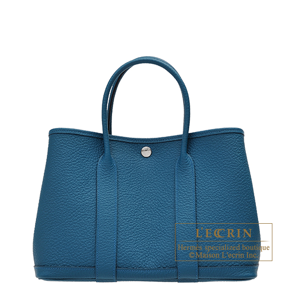 Hermes Garden Party bag TPM Blue outremer Country leather Silver hardware