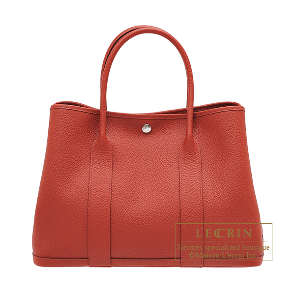 Hermes Garden Party bag PM Rouge duchesse Country leather Silver hardware