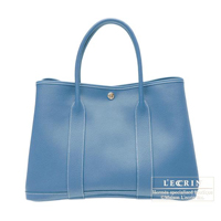 Hermes Garden Party bag PM Azur Buffalo sindou leather Silver hardware