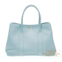 Hermes Garden Party bag PM Ciel Buffalo sindou leather Silver hardware