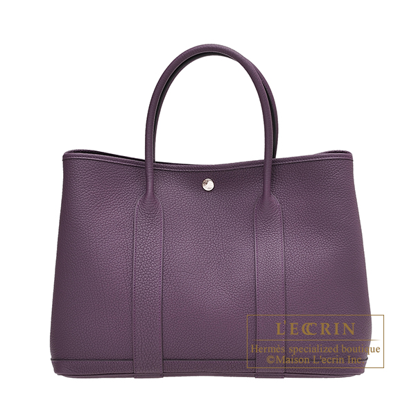 Hermes Garden Party bag PM Cassis Negonda leather Silver hardware