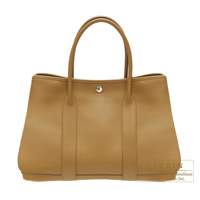 Hermes Garden Party bag PM Ocre Negonda leather Silver hardware