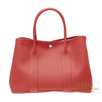 Hermes Garden Party bag PM Rouge venitienne Buffalo sindou leather Silver hardware