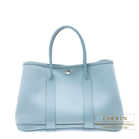 Hermes Garden Party bag TPM Ciel Cotton canvas Silver hardware