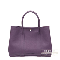Hermes Garden Party bag TPM Cassis Fjord leather Silver hardware
