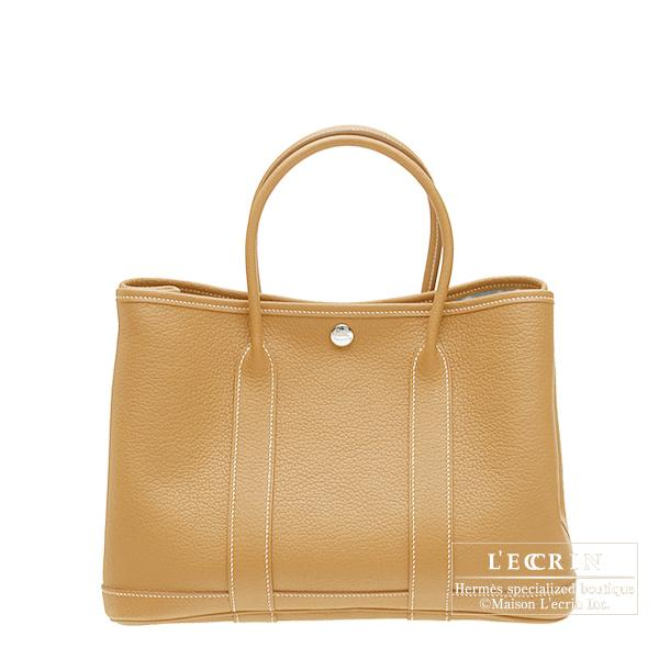 Hermes Garden Party bag TPM Natural sable Fjord leather Silver hardware