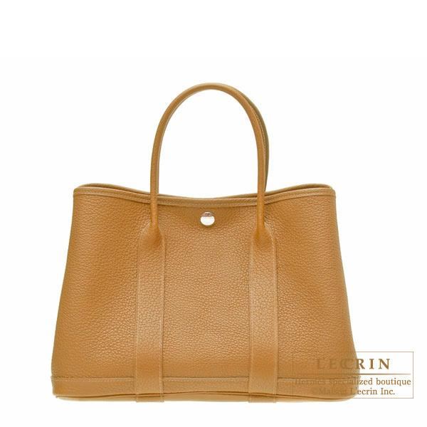 Hermes Garden Party bag TPM Ocre Buffalo sindhu leather Silver hardware