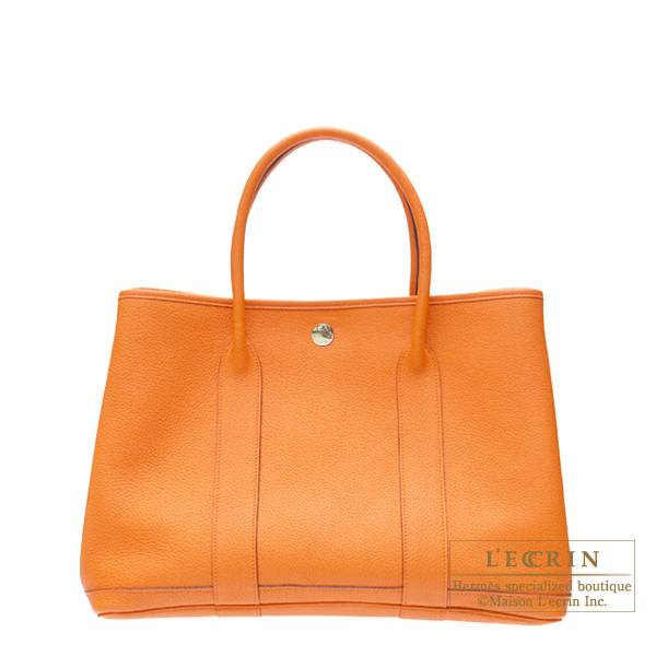 Hermes Garden Party bag TPM Orange Negonda leather Silver hardware