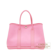 Hermes Garden Party bag TPM Pink Cotton canvas Silver hardware
