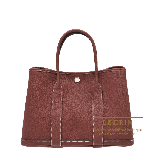 Hermes Garden Party bag TPM Rouge H Negonda leather Silver hardware