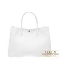 Hermes Garden Party bag TPM White Negonda leather Silver hardware