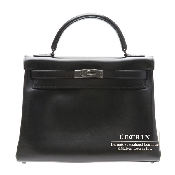 Hermes So-black Kelly bag 32 Retourne Black Box calf leather Black hardware