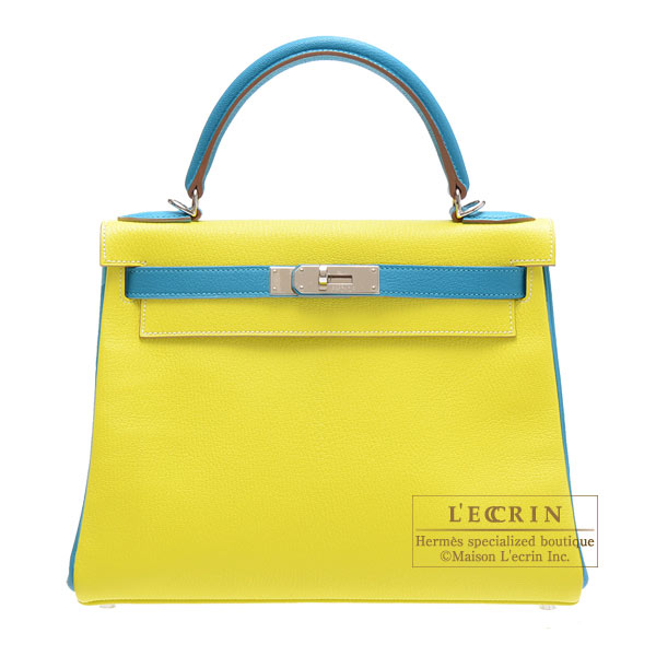 Hermes Personal Kelly bag 28 Retourne Lime/Turquoise blue Chevre myzore goatskin Silver hardware
