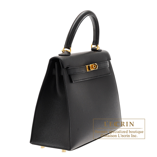 Hermes Kelly bag 25 Sellier Black Epsom leather Gold hardware