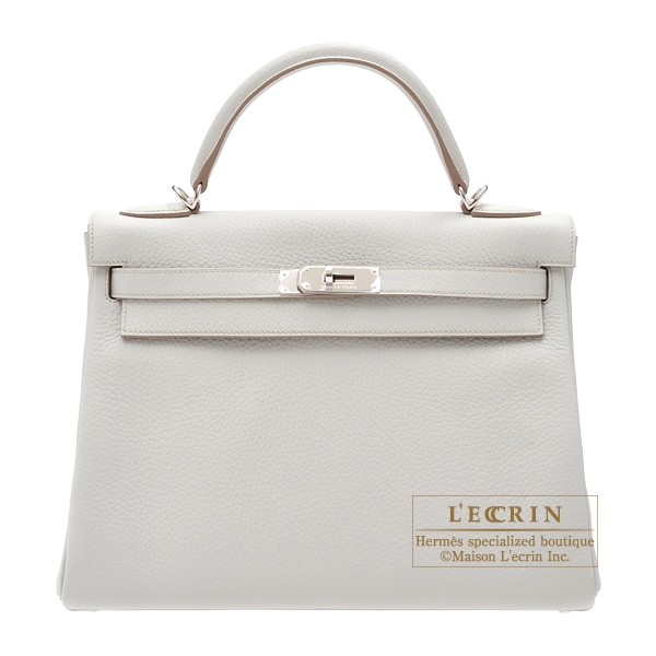 Hermes Kelly bag 32 Retourne Pearl grey Clemence leather Silver hardware