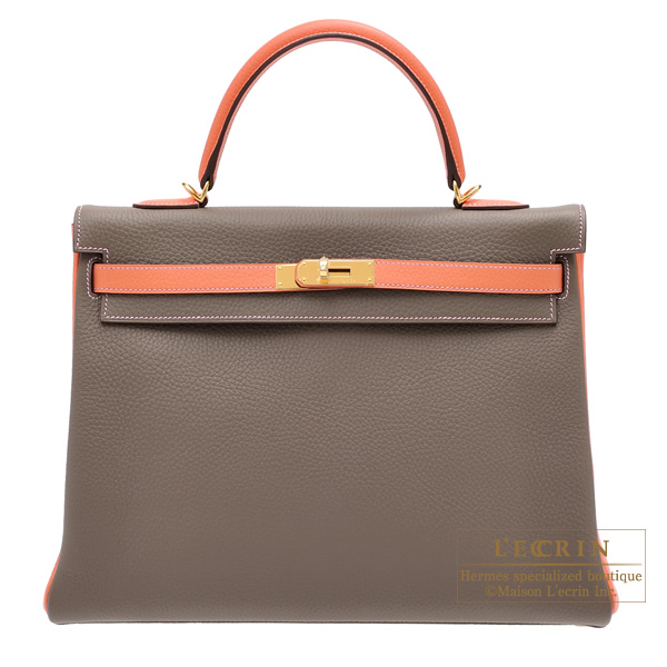 Hermes Personal Kelly bag 35 Retourne Etoupe grey/Crevette Clemence leather Gold hardware