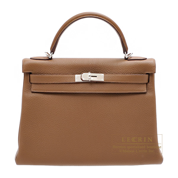 Hermes Kelly bag 32 Retourne Alezan Clemence leather Silver hardware