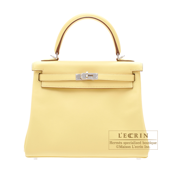Hermes Kelly bag 25 Retourne Jaune poussin Swift leather Silver hardware