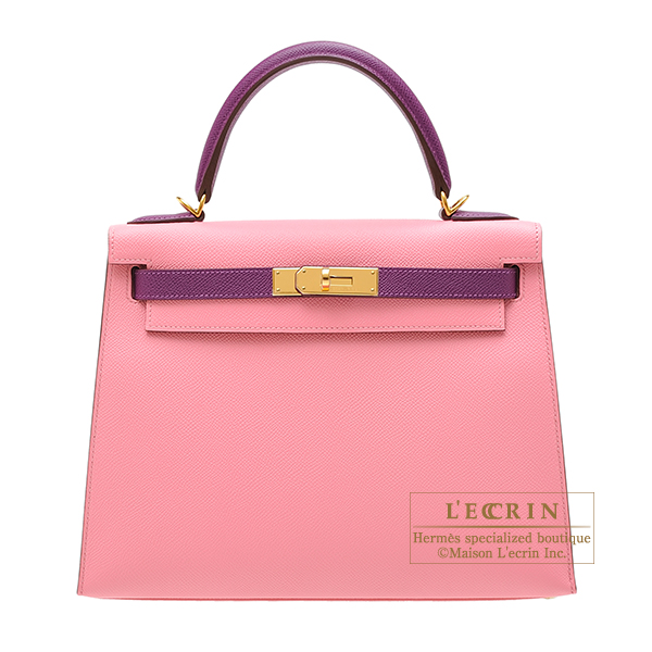 Hermes Personal Kelly bag 28 Sellier Rose confetti/ Anemone Epsom leather Gold hardware